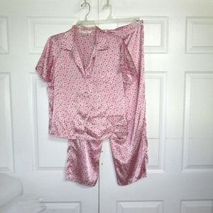 Victoria's Secret Pink Floral Satin Pajamas S